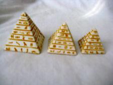"""Egyptian Stone Resin Tan Orange Mini Pyramid Set 1.25""""-1.75"""""""
