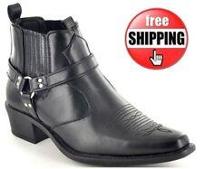 Homme noir bottes western cowboy bout pointu cheville équitation motard talons chaussures 6-12