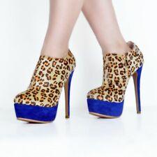 Womens Platform Stiletto Leopard Pumps Fashion High Heels Party Ankle Shoes Size