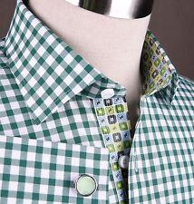 Great Beautiful Mens Green Checkered Business Shirt Light Blue Boss Formal Dress