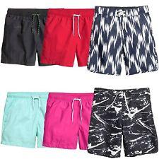 Mens Ex H&M Printed Plain Swimming Shorts Summer Surf Board Bottoms Sizes XS-XL