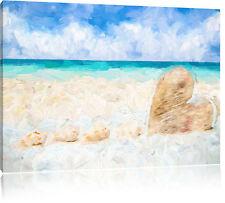Weißer Sandstrand mit Muscheln Leinwandbild Wanddeko Kunstdruck