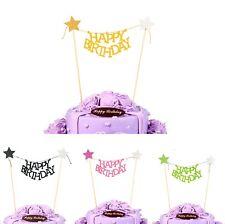 Feliz Cumpleaños Guirnalda Estrella Dorado Torta Topper Único Pancarta