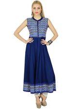 Bimba Women Blue Anarkali Kurti Indian Ethnic Rayon Kurta Blouse Sleeveless