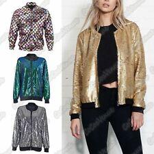 Ladies Sequin Glitter Bomber Jacket Paillettes Bling Clubbing Party Biker Coat
