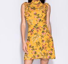 Women Summer Floral Print High Neck Mini Party Dress