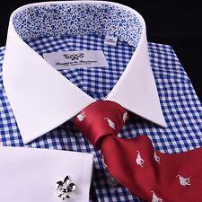 Light Blue Gingham Check Formal Business Dress Shirt Designer Floral White Cuff