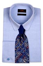 Dress Shirt by Steven Land Trim & Classic Fit- Sq French cuff-Blue-TA727-BL