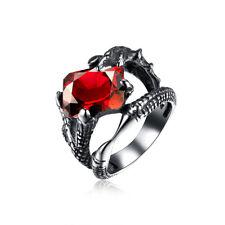 Stainless Steel Vintage Antique Ring Men Biker Ghotic Dragon Claw Red Black B529