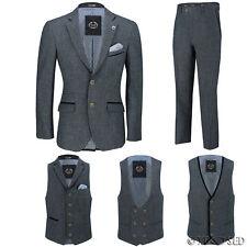 Mens Blue Wool Mix Tweed 3 Piece Suit Sold Separately Blazer Trouser Waistcoat