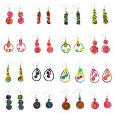 Boucles d'oreilles Légère Ethnique Fil Coton Multicolor Spirale colorée été