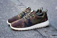 nike roshe run print women running crossing shoes linen/cargo khaki/Mercury grey