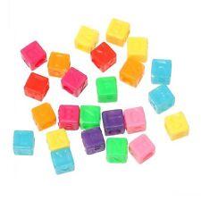 Lot Multicouleur Perle Lettre Alphabet Cube 6mm Braclet, Porte clé..