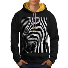Wild Zebra Look Face Men Contrast Hoodie S-2XL NEW | Wellcoda