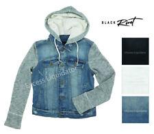 Black Rivet Women's Button Closure Hooded Denim Jacket