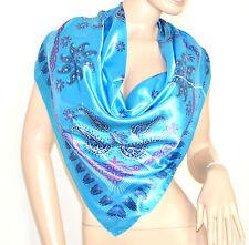 FOULARD donna raso scarf quadrato bufanda fantasia coprispalle шарфы Sjaal 46