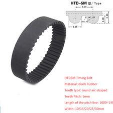 HTD1000~1490/Pitch 5mm Black Rubber Gear Timing Belt Transmission Drive Belts