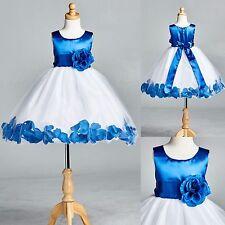 Flower Girl Bridesmaid Royal Blue Rose Petal Dress ALL SIZES Birthday #22