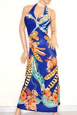 ABITO LUNGO BLU AZZURRO CORALLO vestito donna strass da sera elegante E170