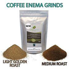 ORGANIC FAIRTRADE COFFEE ENEMA GRINDS 400g 50/50 LIGHT MEDIUM GERSON AIR ROASTED