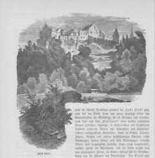 Schloss Laufen Laufen-Uhwiesen HOLZSTICH von 1883