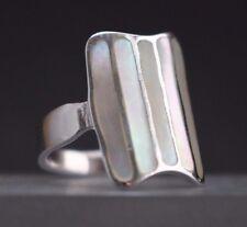 Silberring Perlmutt Damen Ring Bandring Natur Muschelring 925er Silber bicolor