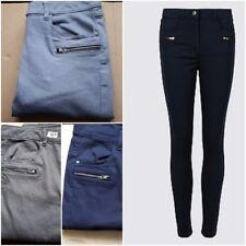 Ex M&S Algodón Rico Detalle De Cremallera Pierna Flaca Jeans Pantalones Azul Marino, carbón,