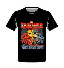 Captain America Civil War Black M & L T-Shirt New 100% Cotton Marvel Collector