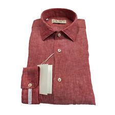 ICON LAB 1961 camisa de hombre rojo flameado manga larga 100% lino vestibiità