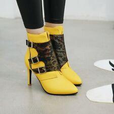 Ladies Splice Pointy Toe Boots Stiletto Heel Sexy Fashion Slim Party Club Shoes