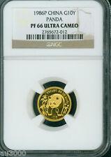 1986-P PROOF GOLD 1/10 Oz PANDA NGC PF66 PR66 CHINA 10Y