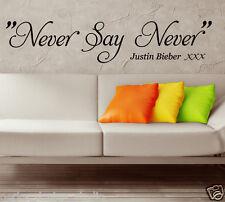 MAI SAY Justin Bieber Adesivo Da Parete / CITAZIONE MURO / PARETE, ARTE S18