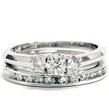 1ct Diamond Engagement Wedding Ring Set 3-Stone Channel Set Round Cut Solitaire
