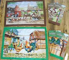 Chicken Hen & Cockerel or Farmyard Country Life Set of 2 Tea Towels