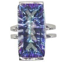 Mystic Quartz Blue Gemstone Baguette Sterling Silver Ring