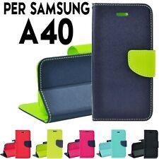 Custodia per Samsung A40 cover tpu a portafoglio libro con chiusura magnetica