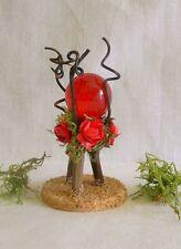 Fairy Garden Miniature Gazing Ball Twig Moss Roses Handmade Vt ~ Cardinal Red