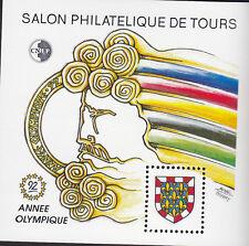 TIMBRE BLOC  C.N.E.P N° 15   TOURAINE 1992 JEUX  OLYMPIQUES    DENTELE