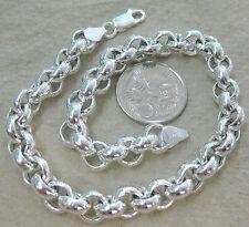 Made in Italy - 925 STERLING SILVER round BELCHER 7mm LINK bracelet 18cm - 25cm