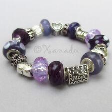 Mom Loves Purple European Charm Bracelet - Violet Purple Mothers Day Gift Idea