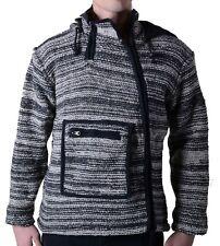 Uomo Baja Poncho Giacca di lana Hippie Goa Maglia con fodera in pile e cappuccio
