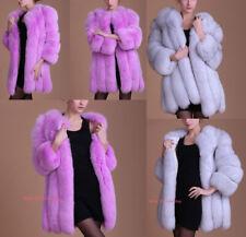 Women Luxury Faux Fox Fur Coat Long Sleeve Jacket Winter Warm Parka Long Outwear