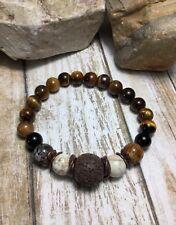 Handmade Healing Tigerseye Brown Lava Diffuser Agate Jasper Stone Bracelet USA
