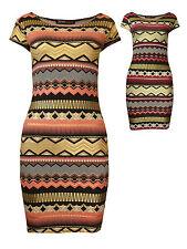 Womens Aztec Foil Print Mini Dress Coral Pink Purple Gold Ladies New Size 8-14