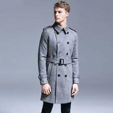 Men Windbreaker Sueded Overcoat Trench Coat Double Breasted British style Jacket