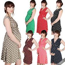 Maternity Clothing Pregnancy Polka Dot V Neck Dress Stretch Pleated Skirt US