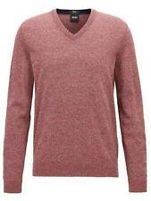 Boss Hugo Boss Black Men's Dark Orange Fabbert-D V-Neck Slim Fit Sweater $155