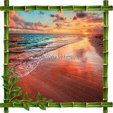 Adesivo Cornice Bambù Tramonto de sole Spiaggia e Mare 7194