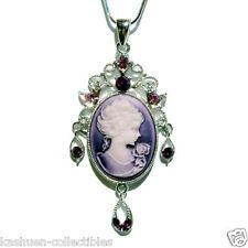 Purple w Swarovski Crystal Victorian Style ~CAMEO Jewelry Charm Pendant Necklace