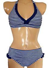 Girls Halter neck Bikini/Swimwear with Frill. Ages 7-16Yrs Navy Stripe